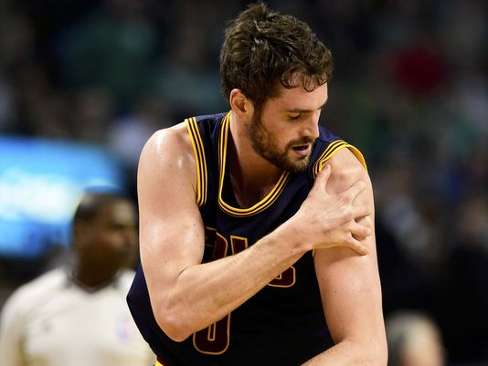 Kevin Love gets tangled up with Kelly Olynyk and dislocates shoulder.